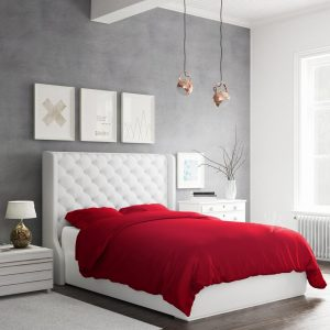 A white bed using a red bamboo duvet cover in queen size
