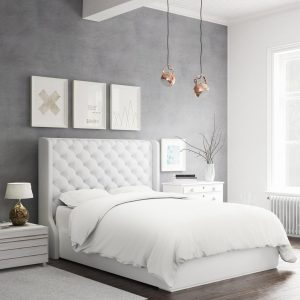 A bed using a bamboo duvet cover in white.