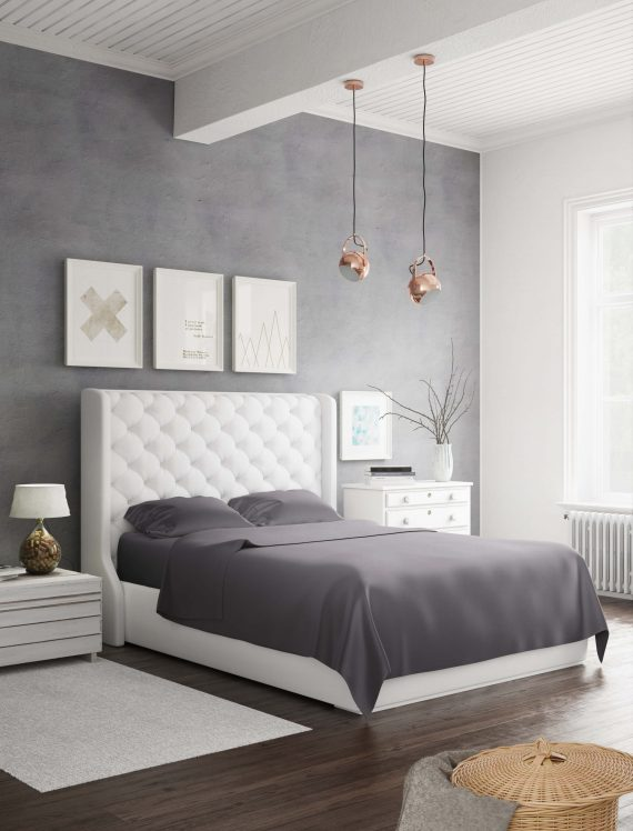White bed using charcoal bamboo sheets