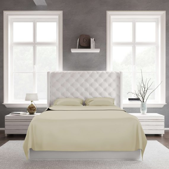 A queen size bed using sage bamboo sheets