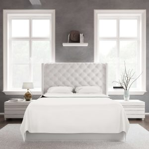 White king size bed with white bamboo sheets