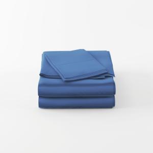 Blue bamboo bed sheet set folded neatly