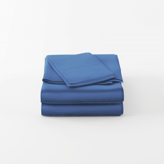 Blue bamboo bed sheet set folded neatly