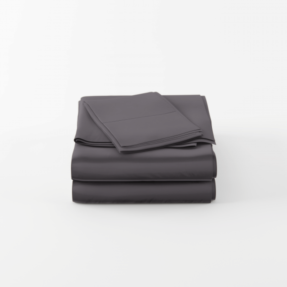 Charcoal bamboo sheets in queen size are folded neatly