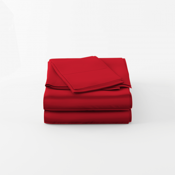 Red luxury bamboo sheets folded nicely