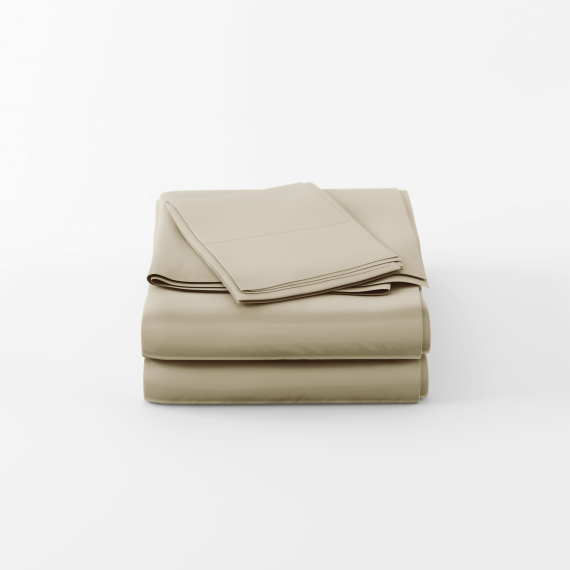 Bamboo home luxury sheets set in sage folded neatly