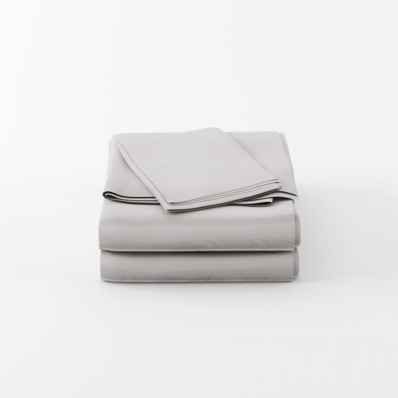 Bamboo cotton sheets set in silver are folded neatly